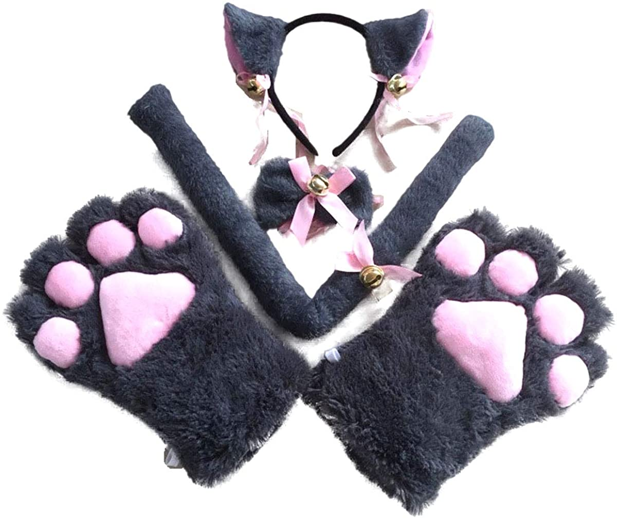 YiZYiF 4 Pcs Women Girls Cat Cosplay Costume Accessories Cat Ears Hair Hoop/Hair Clip and Tail with Collar Paws Gloves