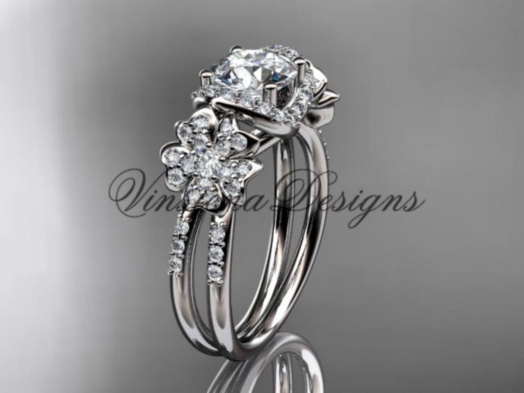 Platinum diamond Cherry Blossom flower, Sakura engagement ring VD8140