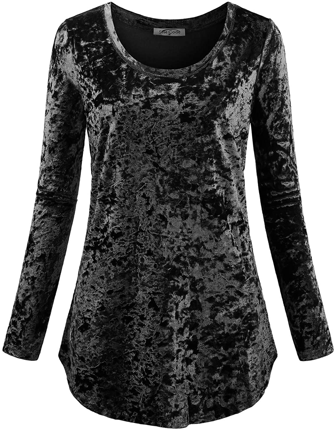 SeSe Code Women's Casual Long Sleeve Crew Neck Form Fitting Velvet Vintage Tunic Top(FBA)
