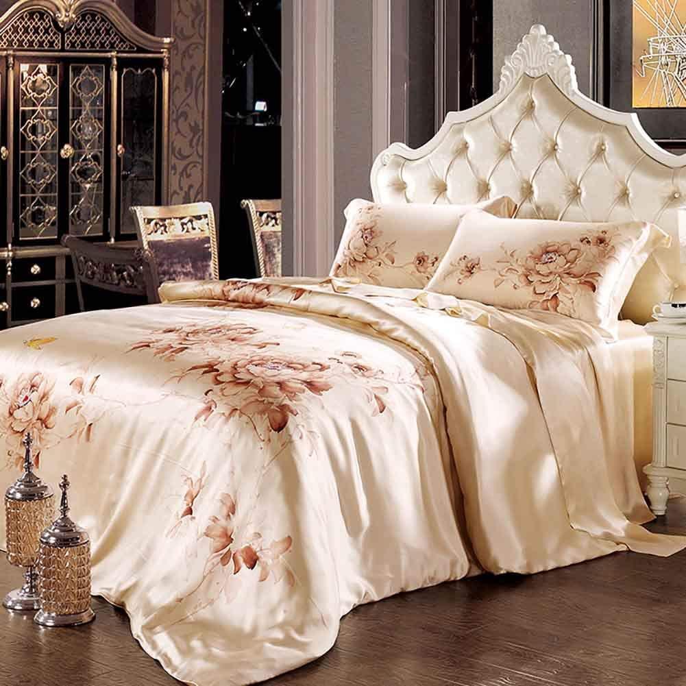 JR%L Luxury Silk Classic Bedding Sets, 4 Pieces Include Duvet Cover Pillow Sham Fitted Sheet Cotton Sateen Blend Fabric No Comforter Duvet-f Queen1