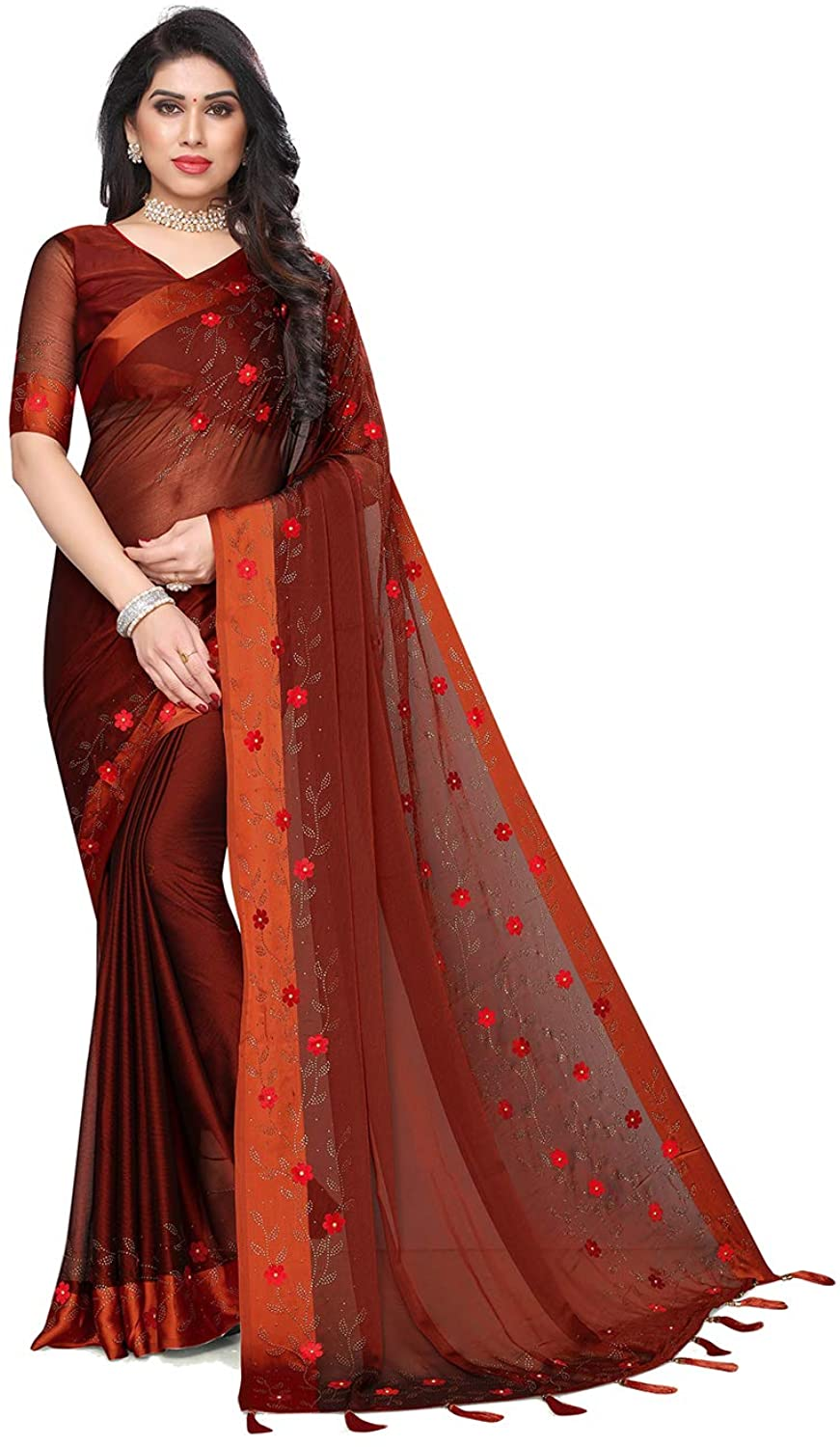 Designer Sarees for Indian Womens Traditional Satin PATTA Brown Sari with Unstitched Blouse. ICW2914-6