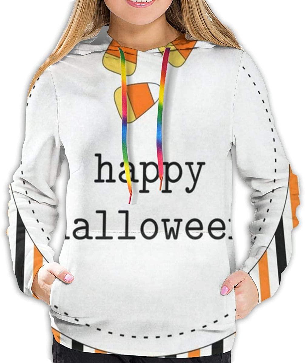 Cute Geometric Vintage Striped Happy Halloween Hoodies for Women Hooded Sweatshirt Long Sleeve Pullover Shirts Sweater