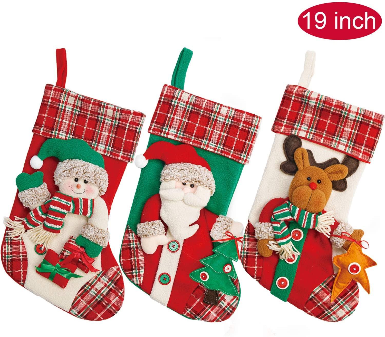 Yecence Christmas Stockings Large 3 Pcs Set 19