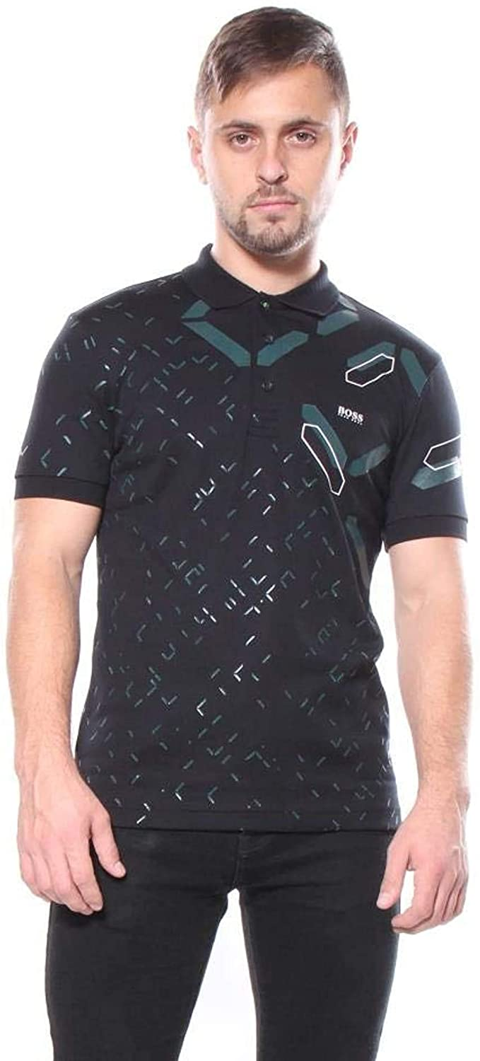 Hugo Boss Paule 3 Polo Men's Black Print Short Sleeve T-Shirt XXL