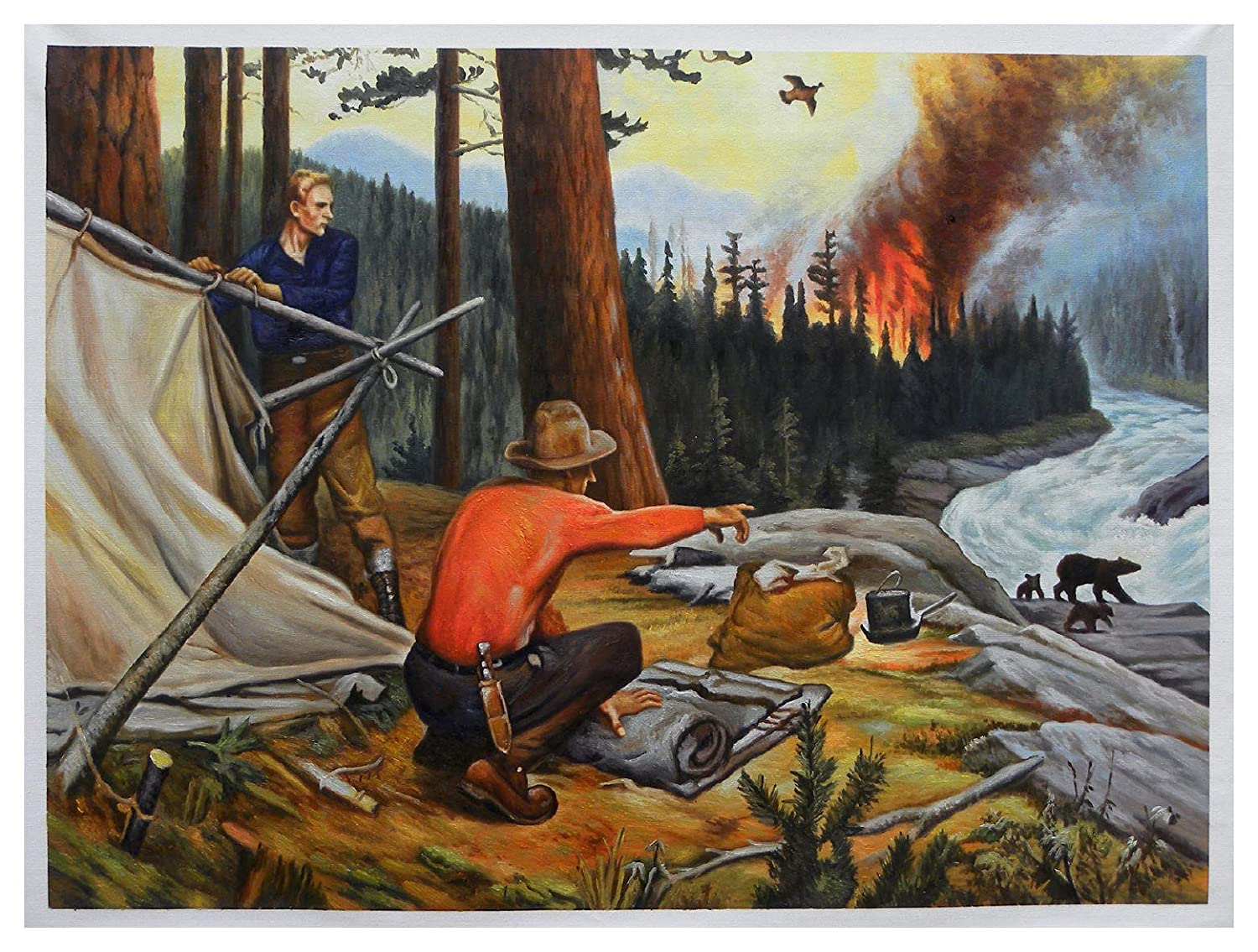 Red Demon of the Forest - Philip Goodwin hand-painted oil painting reproduction, Bears on Mountain Stream Bank, living room large wall decor
