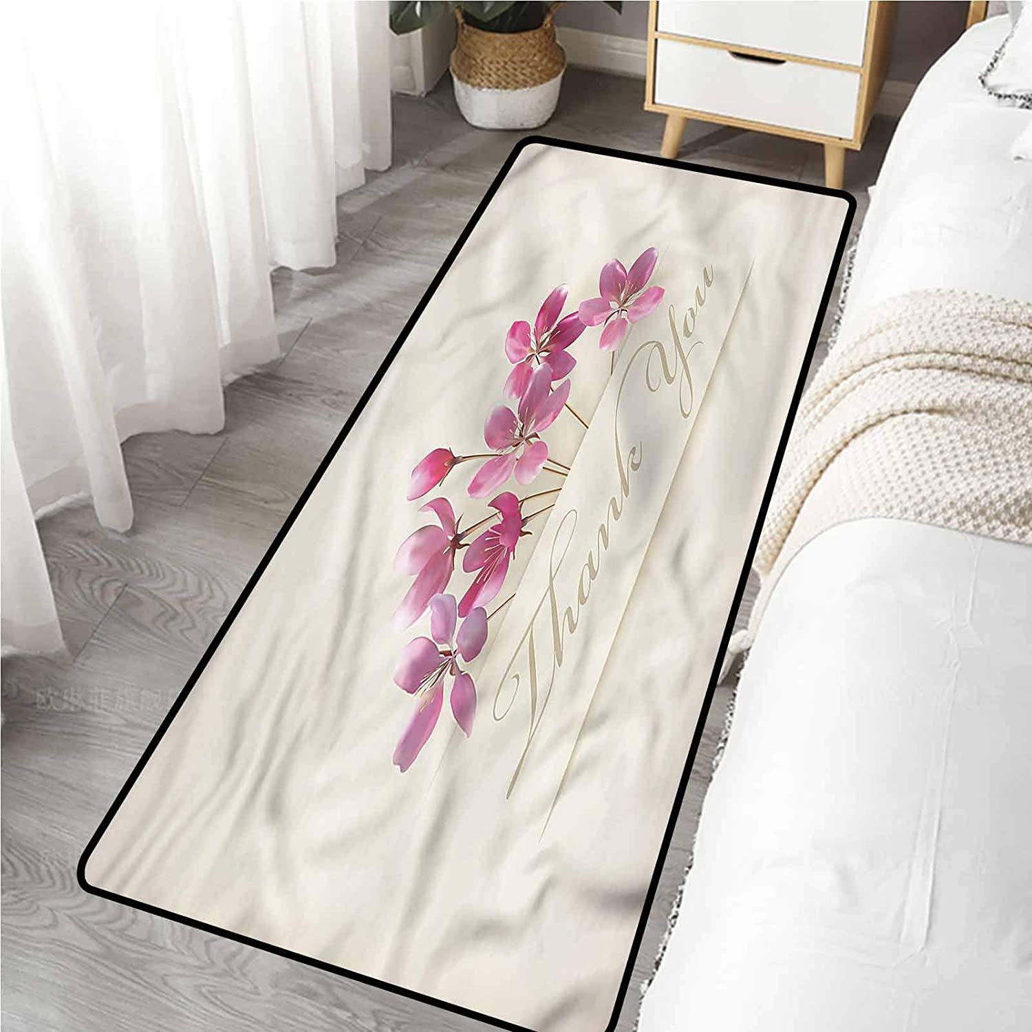 Bathroom Mat 24 x 72 Inch, Cherry Blossoms Flowers Thank You Slip Resistant Mat
