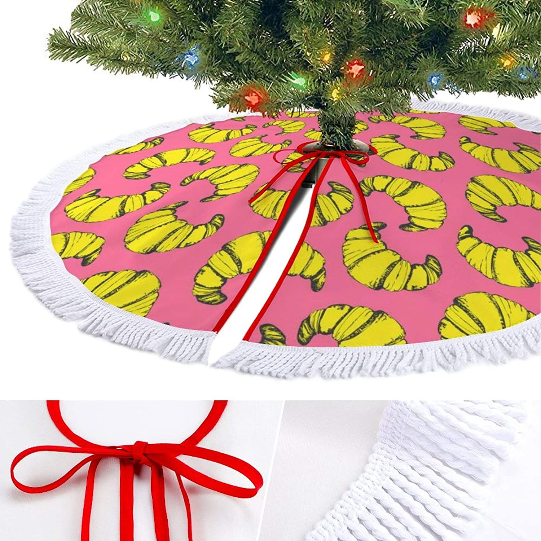 ODOKAY Christmas Tree Skirt Croissant Pattern Pink Holiday Decorations Ornaments Xmas Tree Mat for Festive
