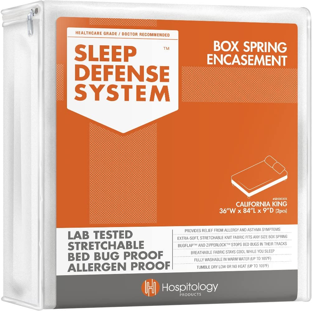 HOSPITOLOGY PRODUCTS Sleep Defense System - Zippered Box Spring Encasement - Split California King - Bed Bug & Dust Mite Proof - Hypoallergenic - 36
