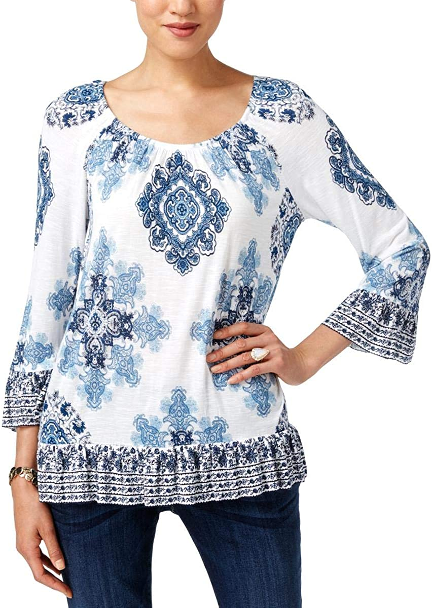 Inc Ruffled Peasant Top, Amazing Medallion XXL