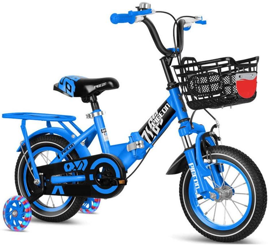 ZJDU Kids Bike, Boys Girls Foldable Bicycle,with Illuminated Training Wheels, Rear Seats and Basket,High Carbon Steel Frame,2-10 Year Old Foldable Baby Stroller Kids Mountain Bike