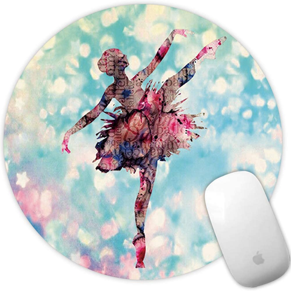 Marphe Mouse Pad Mousepad Non-Slip Rubber Gaming Mouse Pad Round Mouse Pads for Computers Laptop (Dancing Girl)