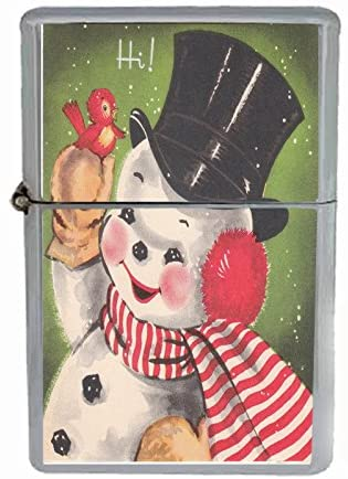 Perfection In Style Wind Proof Dual Torch Refillable Lighter Vintage Christmas Design 023