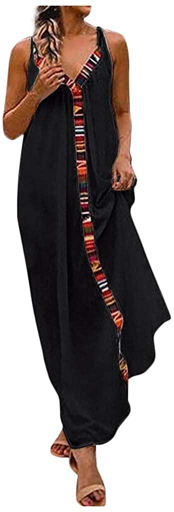 LENXH V-Neck Dress Solid Color Dress Color Strip Dress Strap Dress Sleeveless Dress Cotton Beach Skirt