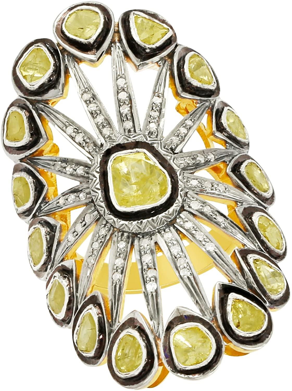 Shine Jewel 92.5 sterling silver champange diamond with polki wedding ring