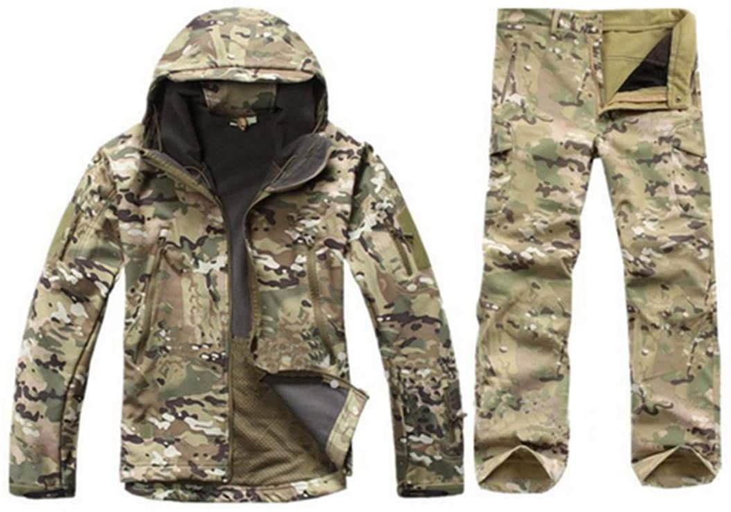 FieldShuFu Tactical Gear Softshell Camouflage Jacket Men Army Waterproof Warm Camo Clothes Windbreaker Fleece Coat Military Jacket CP M