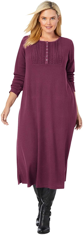 Woman Within Women's Plus Size Thermal Knit Lace Bib Dress