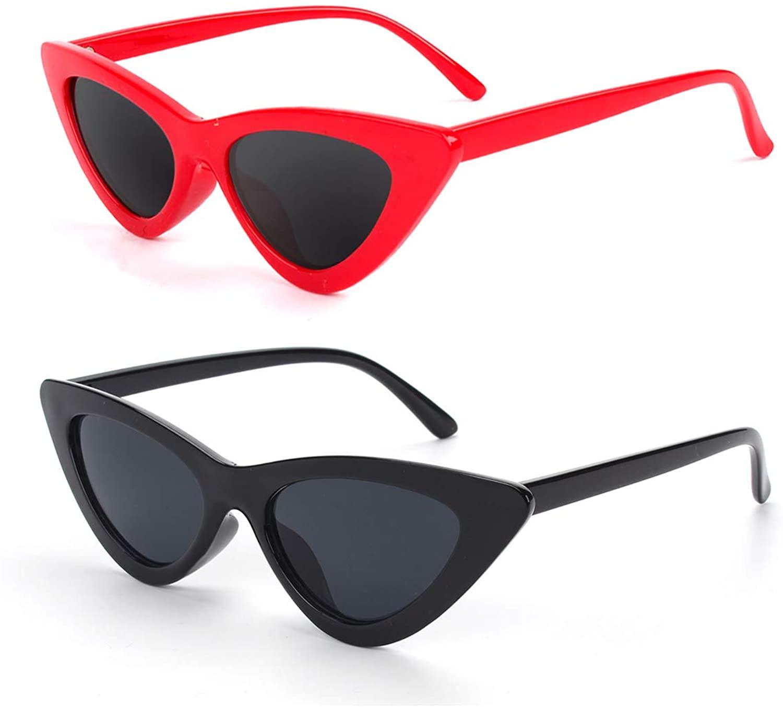 LINVO Retro Narrow Cat Eye Sunglasses Vintage Clout Goggles for women UV400 M97