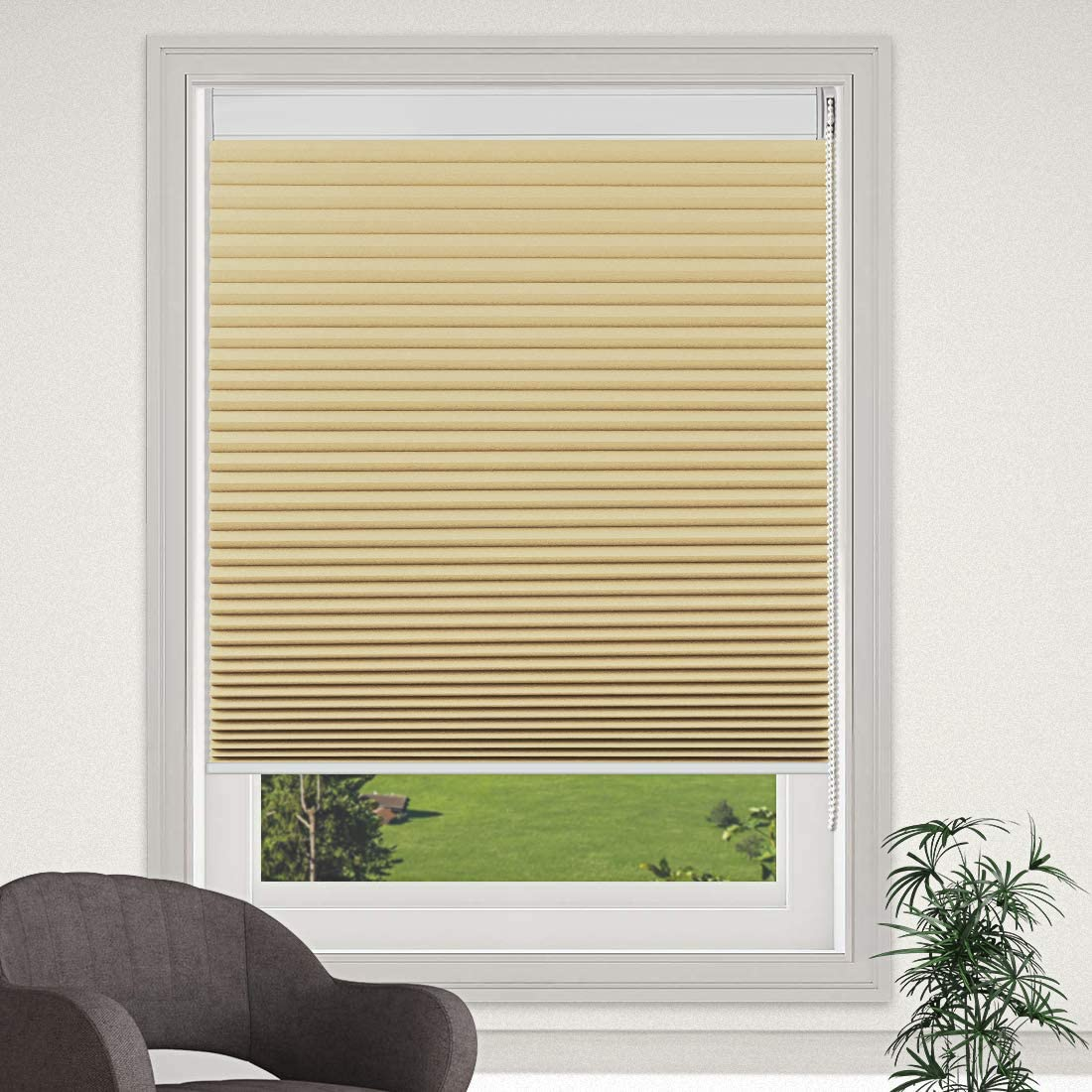 MiLin Blackout Cellular Shades Honeycomb Corded Roller Blinds, Fast Delivery Bedroom Kitchen Window Blinds and Shades Custom Cut to Size - Toasted Almond 63 1/2