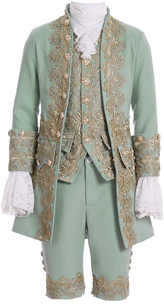 Mens Victorian Fancy Outfit 18th Century Regency Tailcoat Vest Halloween Costume