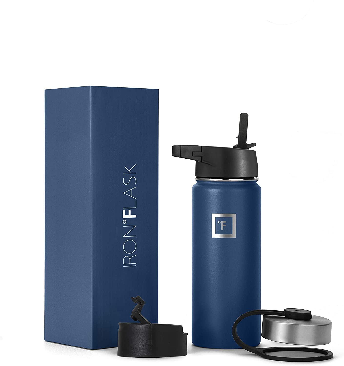 Iron Flask Sports Water Bottle - 18 Oz, 3 Lids (Straw Lid), Vacuum Insulated Stainless Steel, Hot Cold, Modern Double Walled, Simple Thermo Mug, Hydro Metal Canteen (Blue)