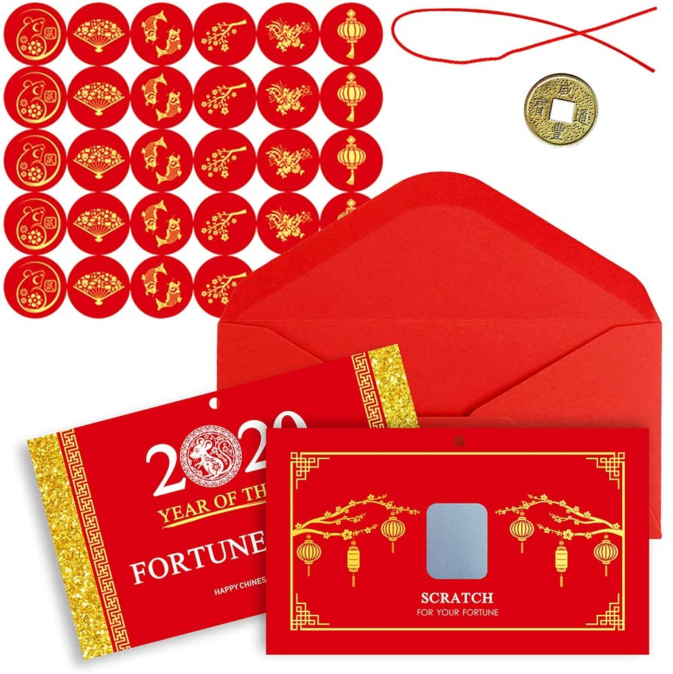 Winlyn 28 Sets Chinese New Year Fortune Cards with Red Envelops Chinese Coins Chinese Stickers Scratch Off Fortune Games Gifts for Kids Chinese Lunar New Year Spring Year of The Rat 2020 Party