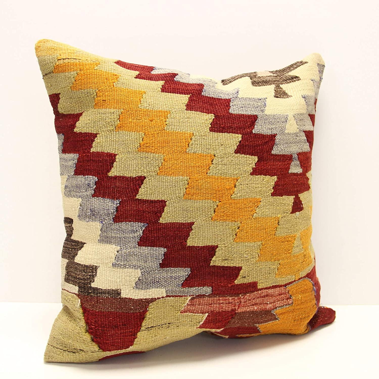 Turkish kilim pillow cover 18x18 inch Oriental vintage bohemian anatolian Home design decorative chevron Throw cushion Cover