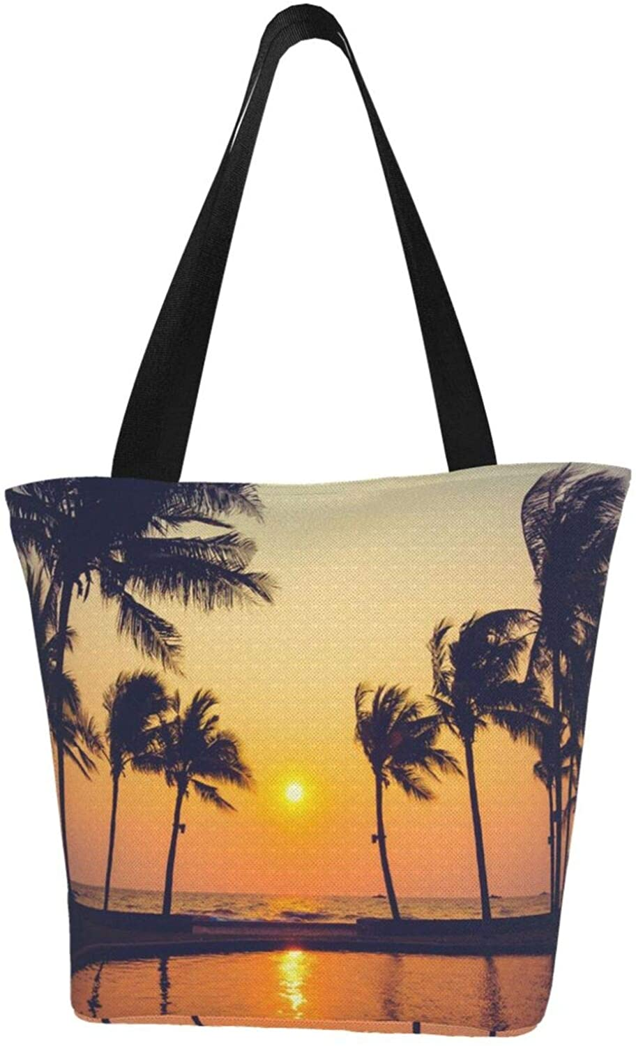 Reusable Funny Silhouette Palm Tree Canvas Tote Bag ,Durable Canvas Tote Bag with Interior Pocket ,Washable Foldable Canvas Tote Bag for Beach,Shipping,Groceries,Books