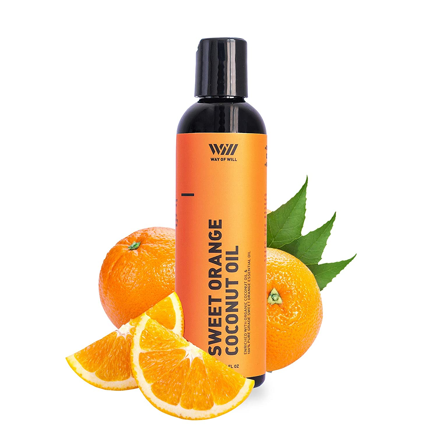 Coconut Oil for Skin and Hair, Extra Virgin Coconut Oil with Mood-Boosting Sweet Orange Essential Oil, Moisturizes Skin and Conditions Hair, 120 mL - Way of Will