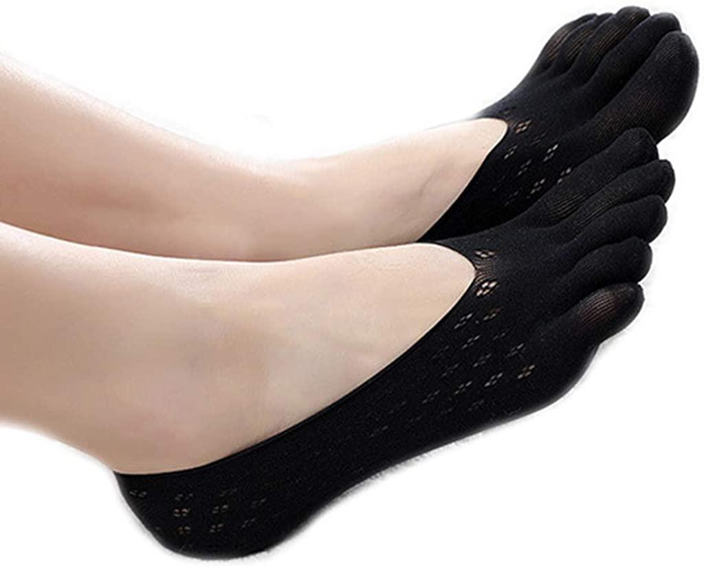 SprinZ Womens Low Cut Boat Socks Five Toe Anti-Skid Silicone Grip Yoga Hosiery