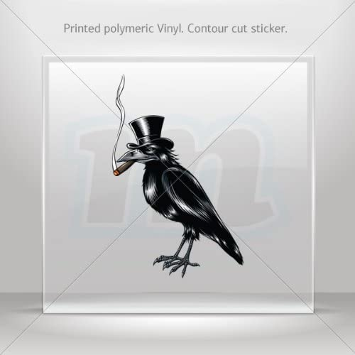 Decal Sticker Crow With Hat Smoking Cigar Tablet Laptop Weatherproof Sports M (5 X 3.21 In)