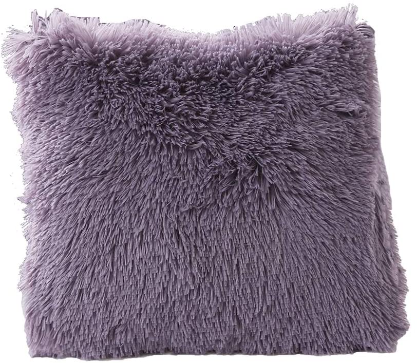 MorroMorn Shaggy Duvet Cover Bedding Set - Long Faux Fur Plush Furry Soft (Dark Purple, 1 Pcs Shaggy Throw Pillow Case)