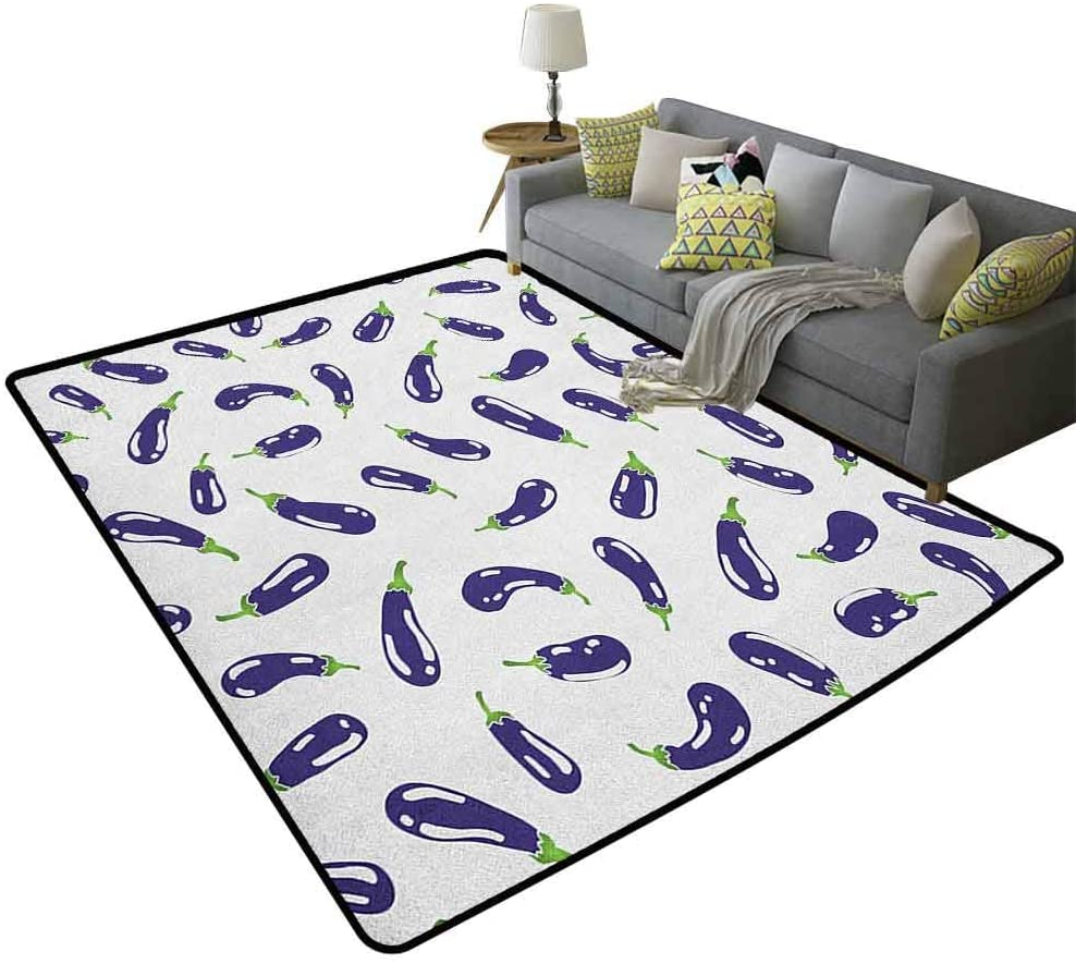 Eggplant Living Room Children's Room Carpet Fresh Eggplants on White Surface Delicious Dishes Eco Food Health and Well Being Extra Soft and Non Slip Area Rug Purple White 79 x 118 Inch
