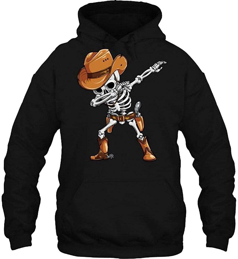 Dabbing Skeleton Tee Black Halloween Men Cowboy Hat Dab Tee Black