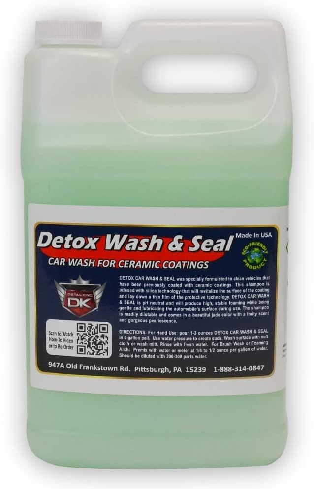 Detail King Detox Car Wash and Car Sealant Foam Soap for Ceramic Coatings - Hydrophobic - Silica Based Technology - Gallon