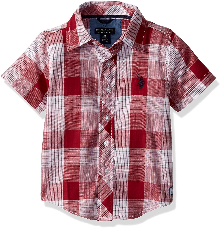 U.S. Polo Assn. Boys' Short Sleeve Classic Plaid Woven Shirt