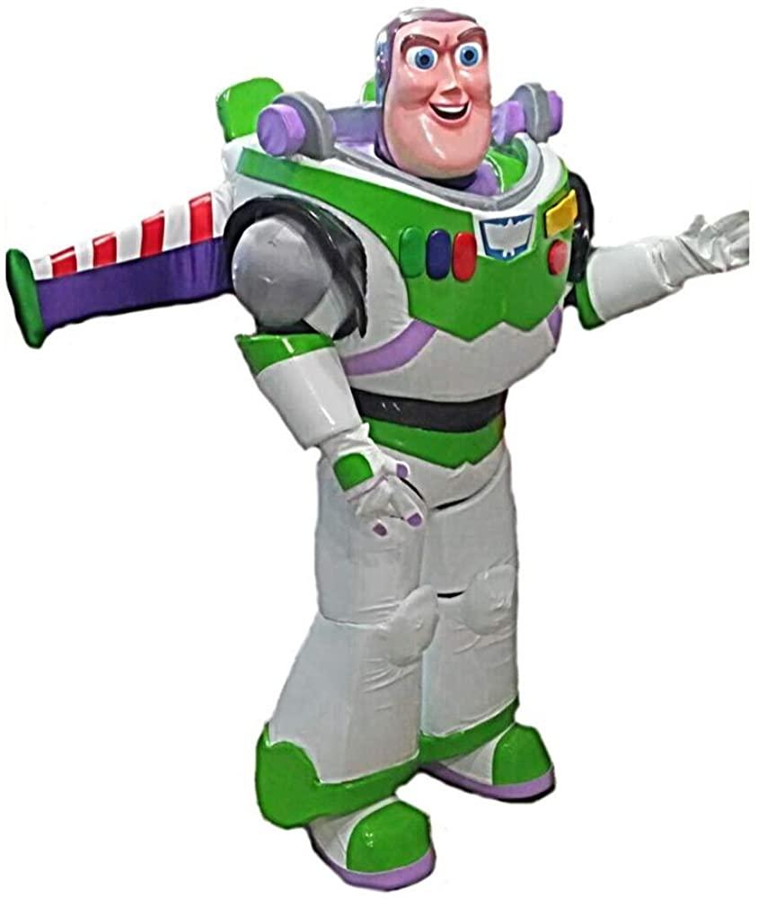 Buzz Lightyear 2XL Mascot Costume Adult Cartoon Character White, Green