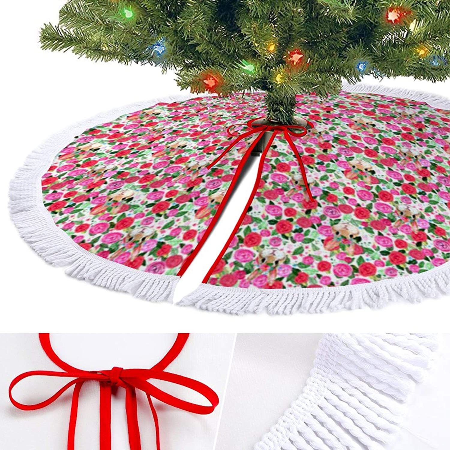 ODOKAY 48 Inch Large Christmas Tree Skirt Holiday Decorations for Outdoor Round 36 Inches Xmas Tree Skirts Bunny Blush Roses