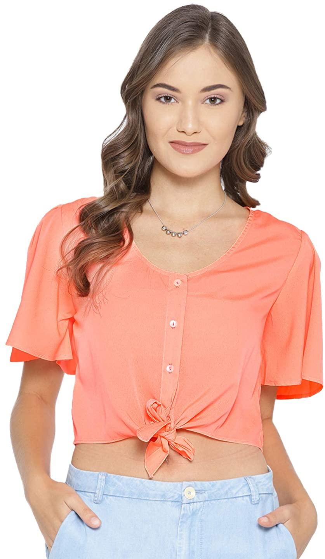 VAAK Solid Crop Top with Tied-Up Waist Details for Women (Orange)