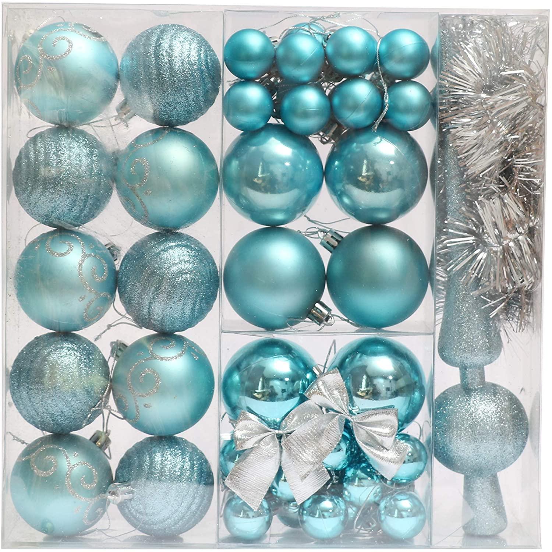 Christmas Tree Ornaments 52 Pieces Light Blue