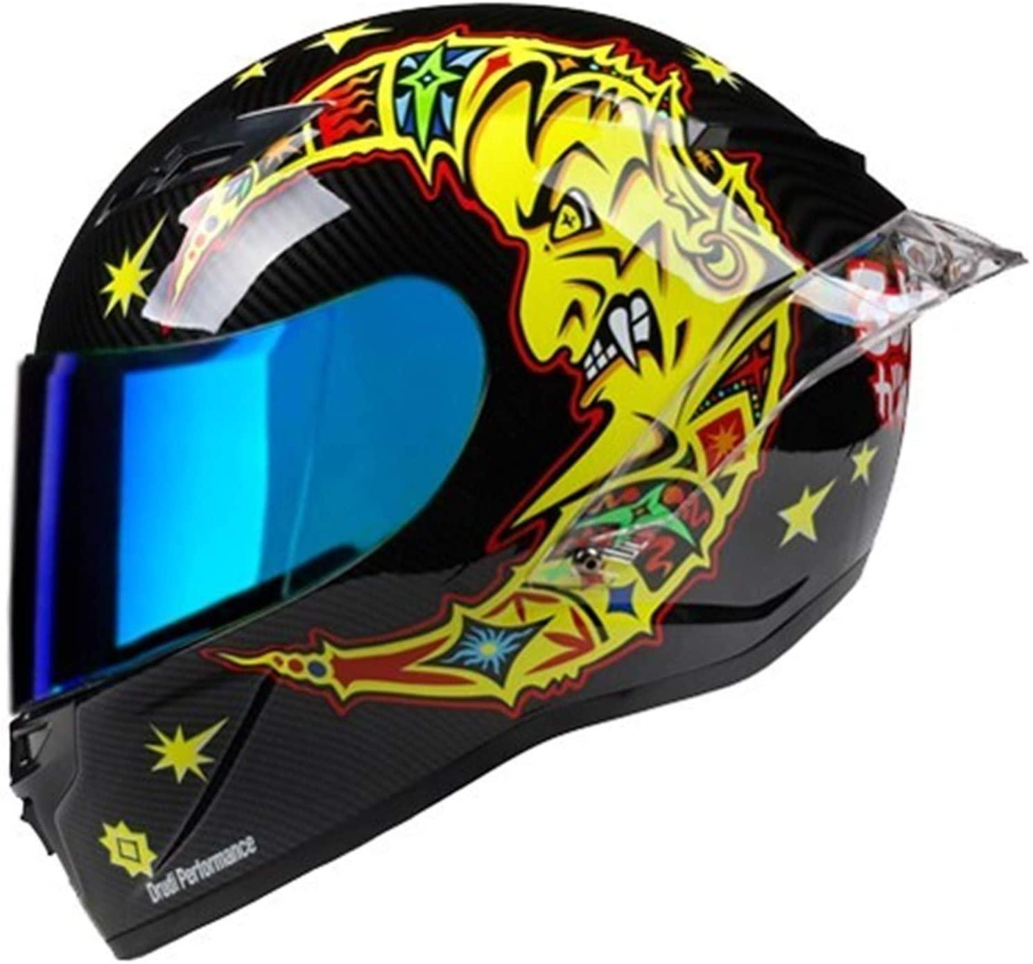 Durable Motorbike Helmet, Full Helmet Atv Helmet Dot Approved Off-road Racing Race Helmet, for Mopeds and Off-road Vehicles Lightweight (Color : 3, Size : XL)