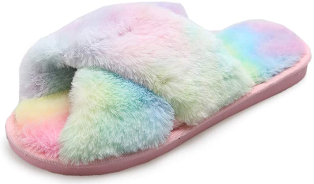 Womens Cross Band Soft Plush Slippers Colourful Furry Open Toe Slip on Slippers House Flats Slides for Indoor Outdoor
