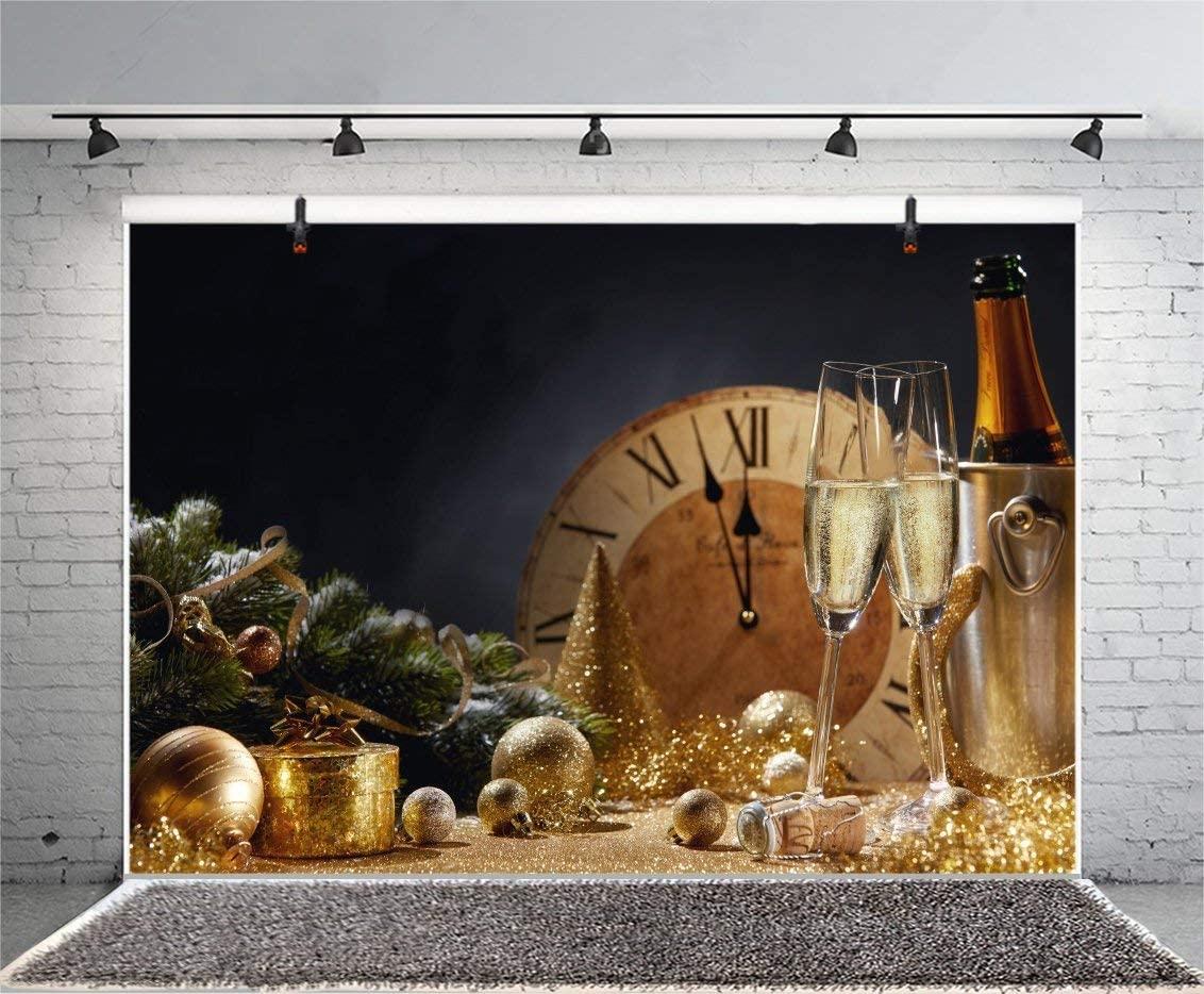 12x8FT Photography Backdrop Merry Christmas Background Champaign Bucket Glass Clock Eve Midnight Happy New Year Glittering Spots Pine Branch Wallpaper Photo Portrait Vinyl Studio Video Prop