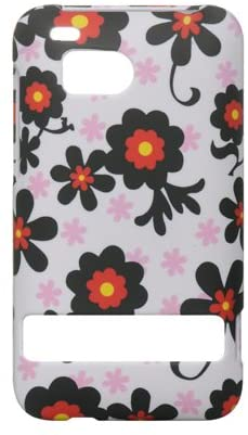 HTC 6400 ThunderBolt Incredible HD Rubber Touch Black Red Daisy On White Premium Design Hard Cover Case
