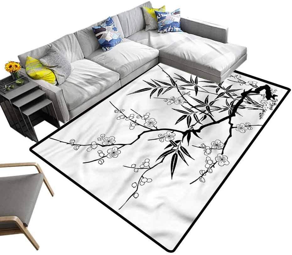 Modern, Bedside Carpet Japanese Sakura Cherry Bloom Kids Dorm Floor Mat Environmental Protection Fabric, 6.5'x 10'