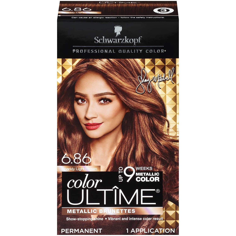 Schwarzkopf Color Ultime Metallic Permanent Hair Color Cream, 6.86 Sparkly Light Brown, 1 Count