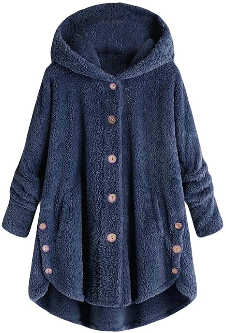 Zantt Women Solid Outerwear Hooded Fluffy Warm Fall Winter Loose Fit Trench Coat Jacket