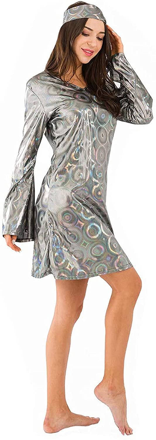 ABOCE Womens Disco 70s Dance Hippie Dress Costume