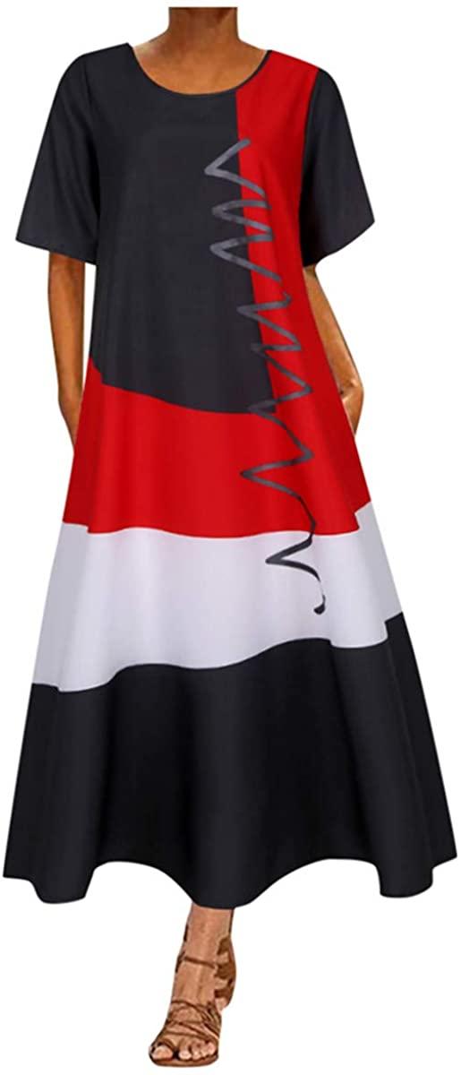 Shakumy Women's Casual Summer Maxi Long Dress Floral Printed Short Sleeve Beach Sundress Holiday Vintage Tunic Shift Dress