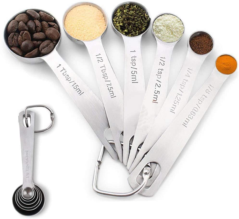 Wewind Measuring Spoons Set Heavy Duty Premium Stainless Steel Metal Tablespoon and Teaspoon Set of 6 for Measuring Dry and Liquid Ingredients Fits in Spice Jars, for Ktichen Cooking Gadgets