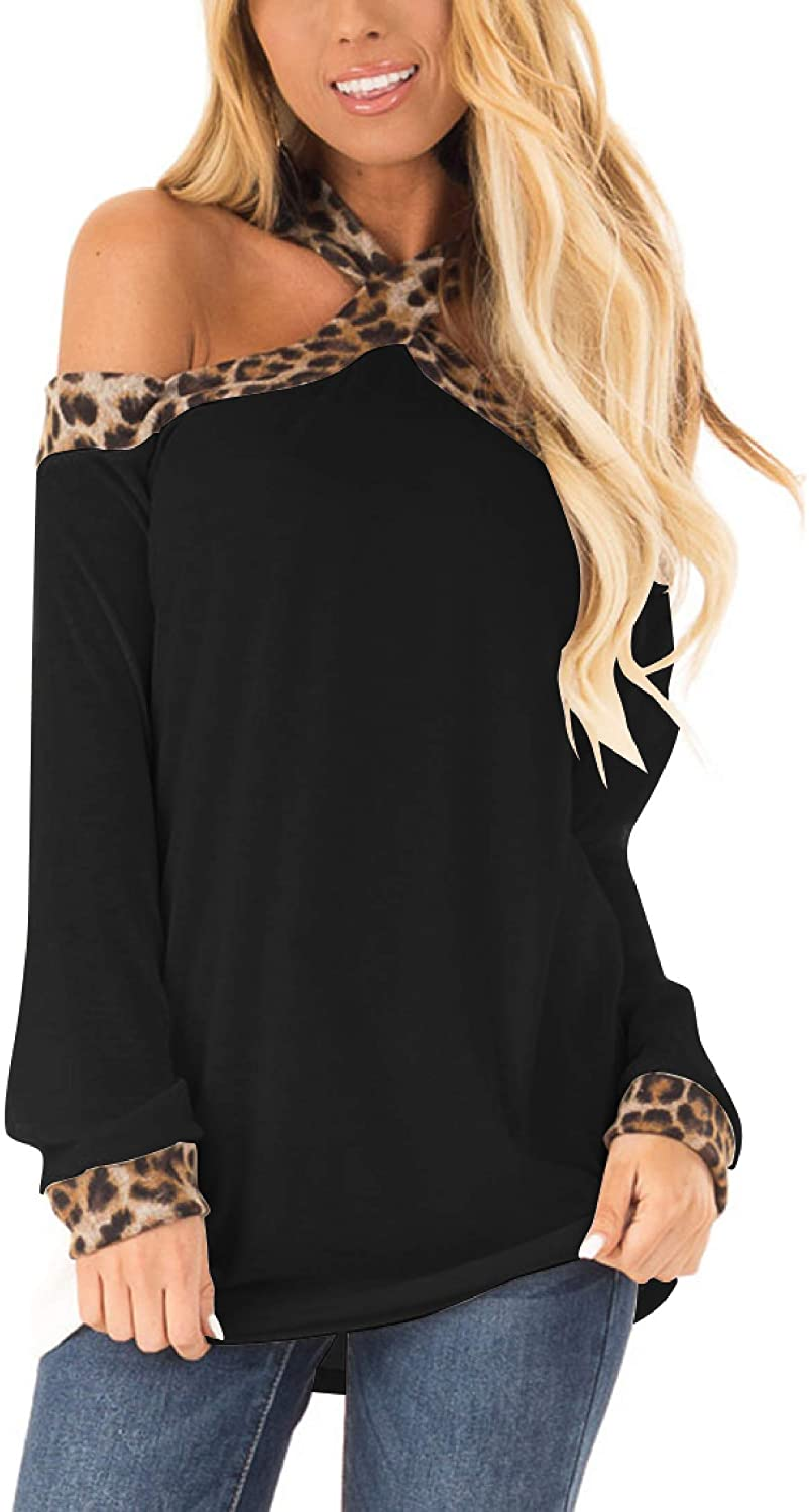 Minclouse Women's Off The Shoulder Long Sleeve Tunic Tops Fall Casual Leopard Print Sexy Blouse Criss Cross Strappy Shirts